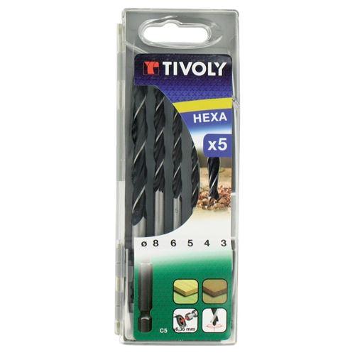 Coffret de 5 forets Bois Ø 3-4-5-6-8mm TIVOLY Queue HEXA 6.35 Perçage bois directement depuis une perceuse/visseuse standard
