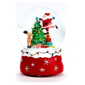 Boule a neige musicale pere noel avec sapin   polyresine et verre