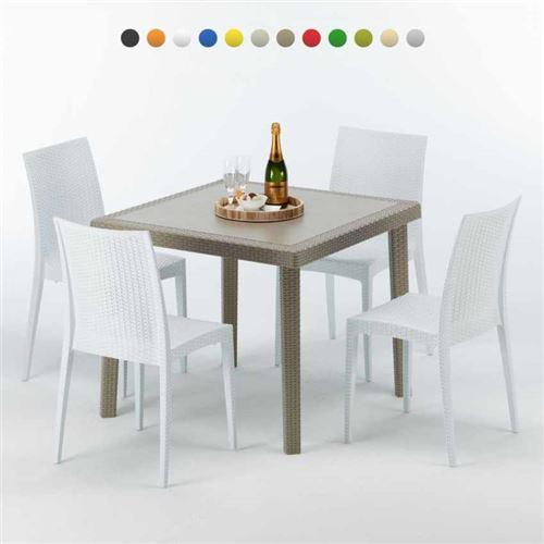Table carrée beige + 4 chaises colorées Poly rotin synthétique ELEGANCE, Chaises Modèle: Bistrot Blanc