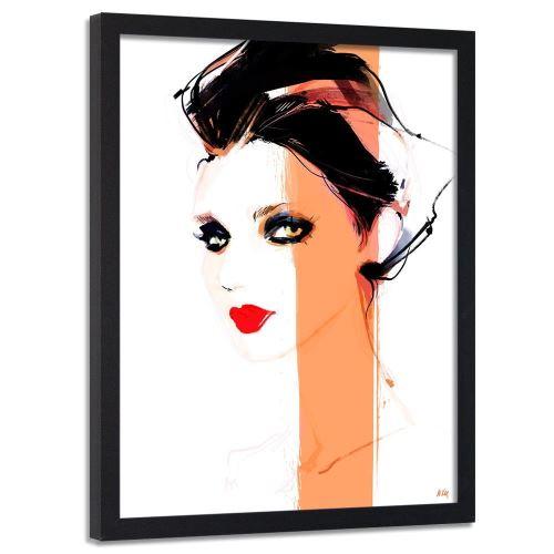Feeby Image encadrée Tableau murale moderne cadre noir, Femme aux l?vres rouges 50x70 cm