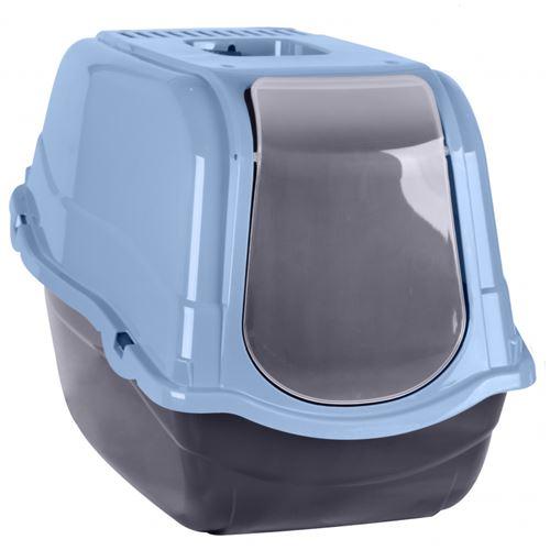Maison de toilette pour chat - L 55 x l 40 x H 40 cm - Bleu