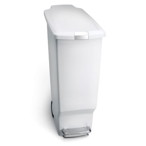 simplehuman Poubelle Étroite À Pédale en Plastique Blanc 40L