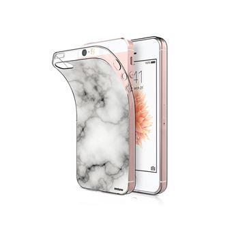 Coque Iphone 5/5s/se Souple Transparente, Marbre Blanc, Evetane®
