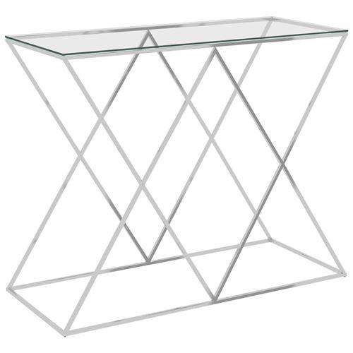 Table d'appoint Acier inoxydable et verre 90x40x75cm Argent