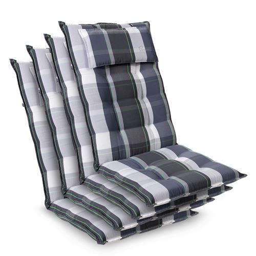 Coussin de chaise de jardin -Blumfeldt Sylt -120 x 50 x9 cm -4 pièces -Carreaux Bleus