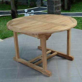 Table extensible ronde en teck Ecograde Roma 120/170 x120 cm