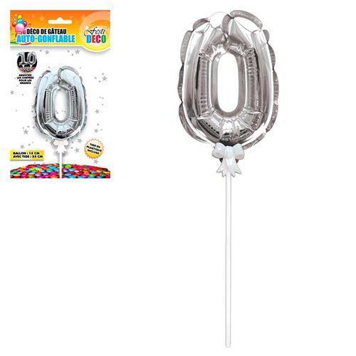 ballon argent gâteau - chiffre 0