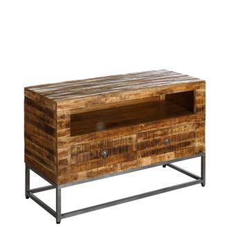 meuble tv 2 tiroirs 1 niche atlanta l 100 x l 40 x h 65 achat prix fnac