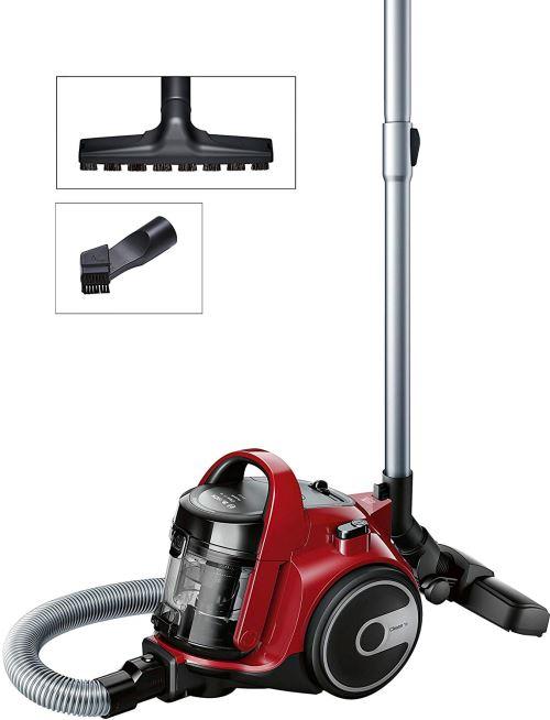 Bosch Bgc05aaa2 Gs05 Cleann 'n Aspirateur Sans Sac, Conception Ultra-compacto, Filtre Hepa H12 Lavable, Brosse Spéciale Sols Delicados, 700 W, 1.5 Liters, 78 Decibeles, Rouge Et Noir