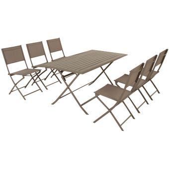 Table pliante rectangulaire en aluminium coloris taupe - Dim : L 150 ...