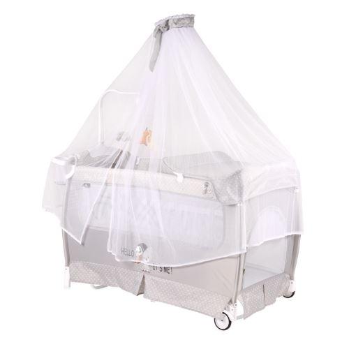 Lit parapluie bébé avec BALDAQUIN – Lit pliant / pliable à bascule Dream (musical) Gris
