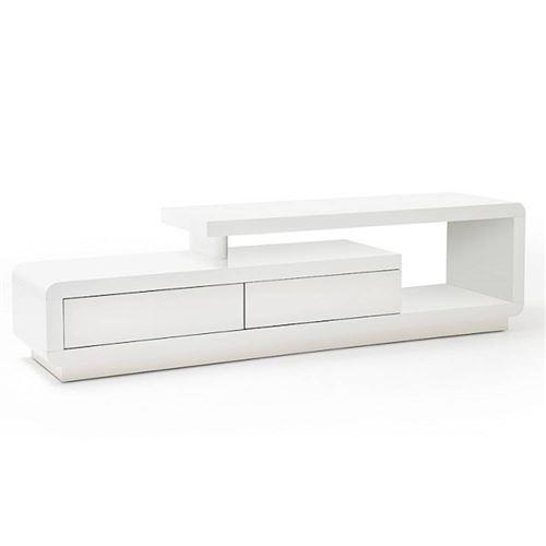 Meuble TV design CORTO 2 tiroirs finition laquée blanc brillant