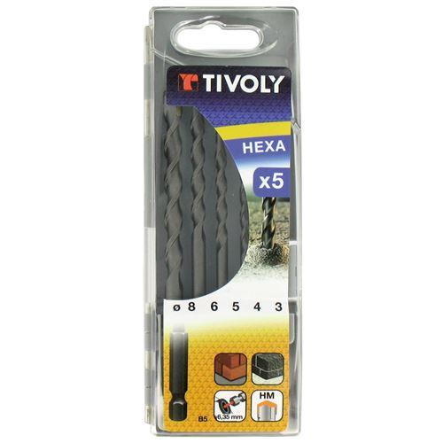 Coffret de 5 forets Béton Ø 3-4-5-6-8mm TIVOLY Queue HEXA 6.35 Perce bétons directement depuis une perceuse/visseuse standard