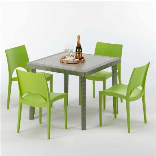 Table carrée beige + 4 chaises colorées Poly rotin synthétique ELEGANCE, Chaises Modèle: Paris Vert