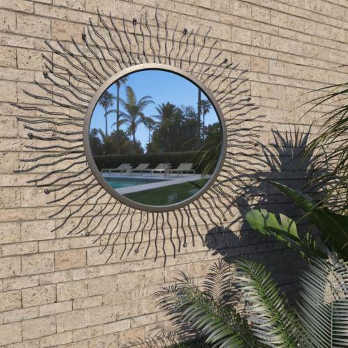 Miroir Mural de Jardin Mirror de Patio Décoration Rayons de Soleil 80 cm Noir