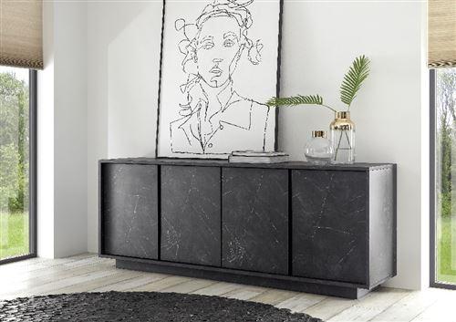 SUBLEEM Buffet 4 portes Frosinone marbre noir