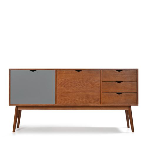 Buffet design 2 portes 3 tiroirs teinté noyer Ström - Couleur - Gris souris/Blanc craie