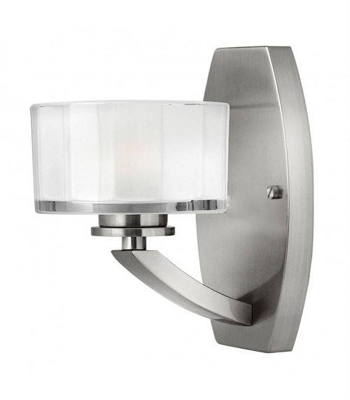 Applique Meridian, nickel brossé et verre, 1 ampoule