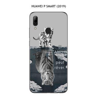 Coque Huawei P Smart (2019) design Chat Tigre Blanc fond gris Et Alors !