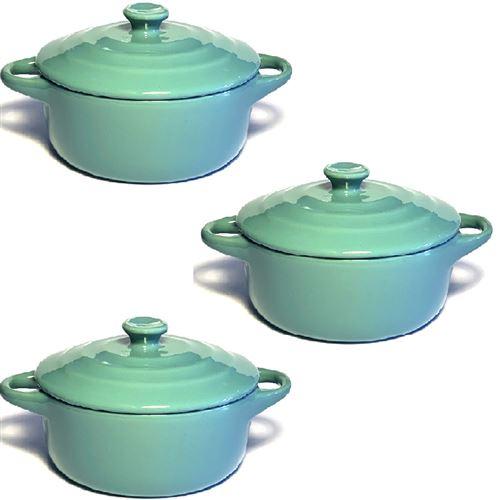 Lot de 3 mini cocottes bleues turquoises double poignée avec couvercle Hobby Cook