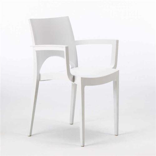 Grand Soleil - Chaise avec accoudoirs en polypropylène bar restaurant Paris Arm Grand Soleil, Couleur: Blanc
