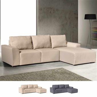 Places DiamanteCouleurBeige 3 Canapé Tissu Avec Longue Accoudoirs Chaise D'angle En 8nwPkO0X