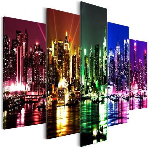 Tableau - Rainbow New York (5 Parts) Wide - Décoration, image, art | Villes | New York | 225x100 cm | |