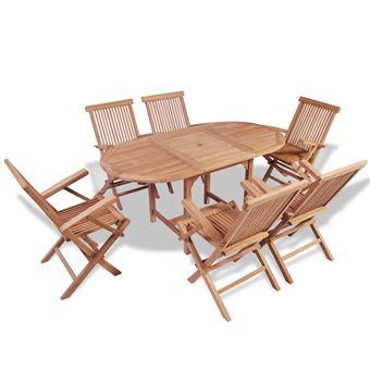 vidaXL Mobilier de jardin 7 pcs avec table extensible Teck ...
