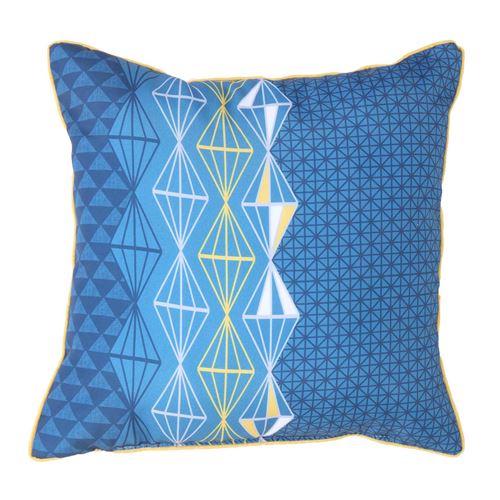 Coussin passepoil 40 x 40 cm polyester imprime kessy des. place Bleu