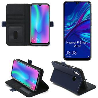 Huawei P Smart 2019 : Housse Protection Portefeuille bleue à Rabat avec Porte Cartes - Etui Folio bleu Coque Silicone Antichoc Smartphone 2019 - ...