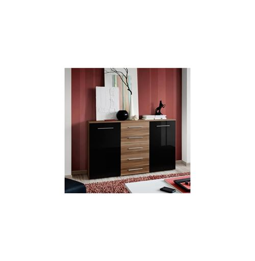Paris Prix - Buffet 2 Portes Design fox 150cm Noir & Tiroirs Prunier