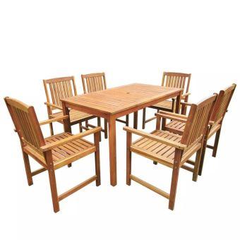 10% sur Salon de Jardin 1 Table et 6 Chaises d\'extérieur en Acacia ...