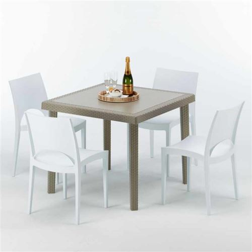 Table carrée beige + 4 chaises colorées Poly rotin synthétique ELEGANCE, Chaises Modèle: Paris Blanc