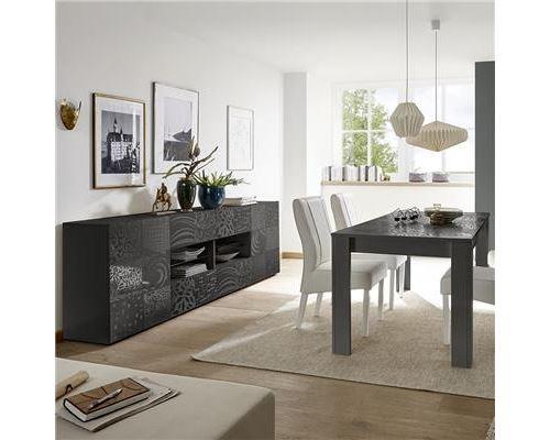 Séjour gris laqué buffet 4 portes 2 tiroirs design ELMA 2 - L 180 x P 90 x H 79 cm