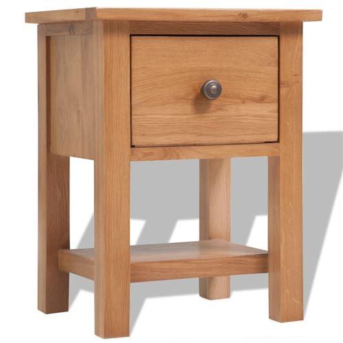 vidaXL Table de chevet 36 x 30 x 47 cm Bois de chêne massif