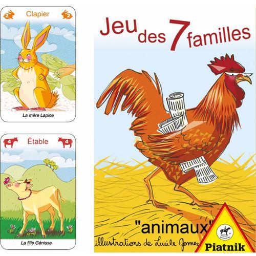 PIATNIK Cartes - Jeu De 7 Familles Animaux Multicolore