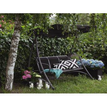 Beliani - Balancelle de jardin - balancelle en métal et tissu noir - Bogart