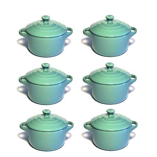 Lot de 6 mini cocottes bleues turquoises double poignée avec couvercle Hobby Cook