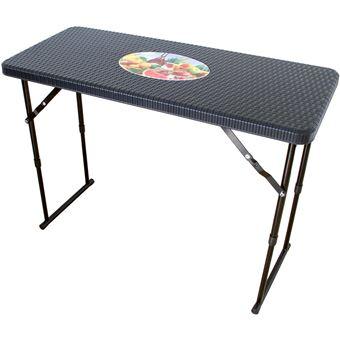Table Pliante Etroite Reglable En Hauteur Aspect Rotin Table De