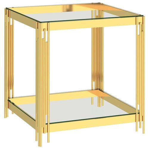 Table basse en Acier inoxydable et verre 55x55x55cm Doré