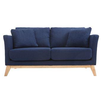 Canapé scandinave 2 places bleu foncé déhoussable et pieds bois ...