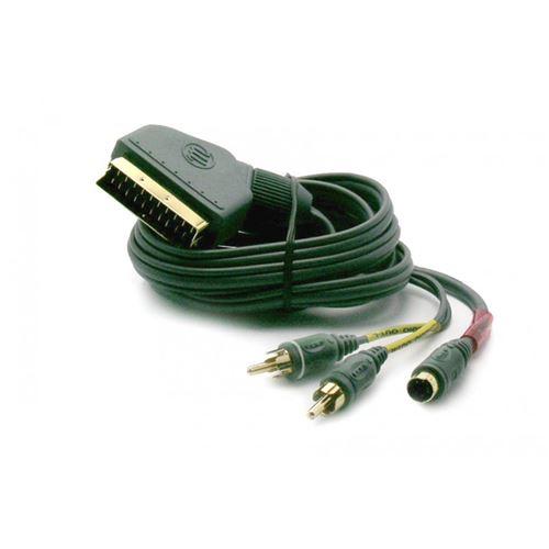 Câble 1 péritel / 2 RCA mâles + S-vidéo In mâle METRONIC 475093 noir