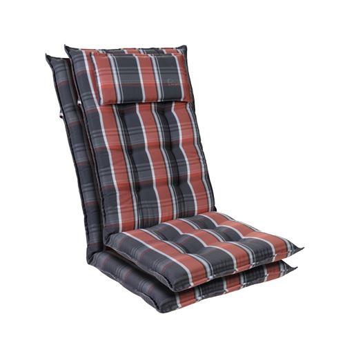 Coussin de chaise de jardin -Blumfeldt Sylt -120 x 50 x9 cm -2 pièces -Noir / Rouge