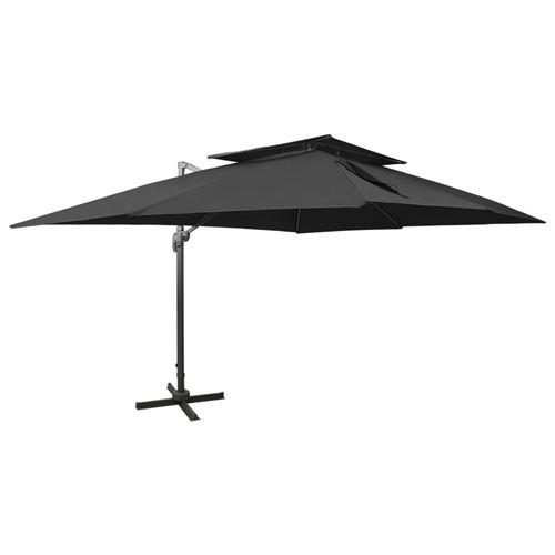 vidaXL Parasol déporté à double toit Noir 400x300 cm
