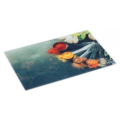 Planche à Découper Verre Epices 30x40cm Multicolore