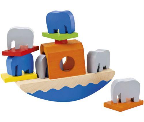 Selecta Spielzeug Wippofantbateau-jouet junior 15,5 cm en bois 11 pièces