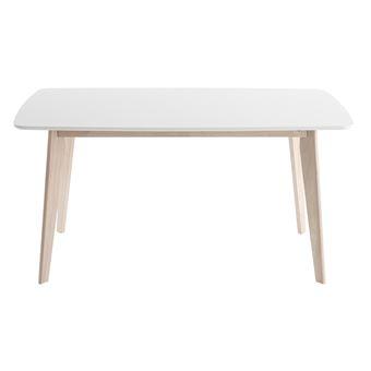 Table à Manger Design 150cm Blanc Et Bois Clair LEENA   Achat U0026 Prix   Fnac