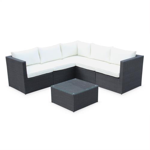 Salon de jardin résine tressée - Siena - Coloris noir coussins écrus structure aluminium canapé d'angle d'extérieur 5 places