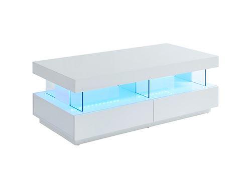 Table basse FABIO - MDF laqué blanc - LEDs - 2 tiroirs & 2 niches