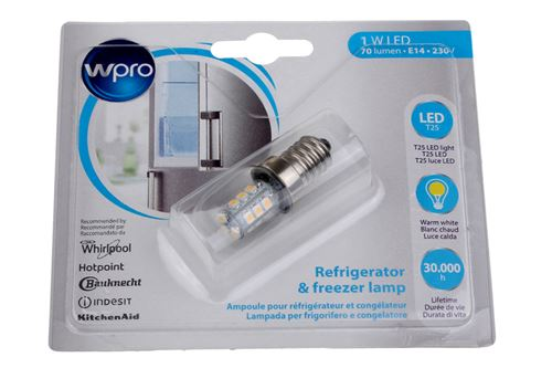 Ampoule Wpro pour réfrigérateur et congélateur LFR200 LED T25 E14